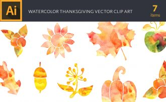 Watercolor Thanksgiving Vector Set Vector packs [tag]