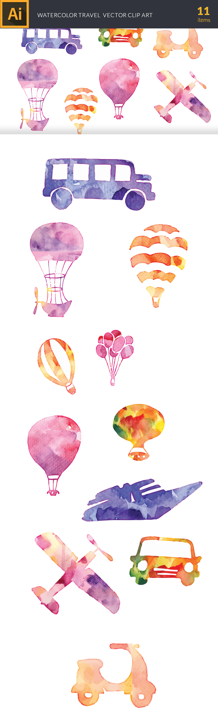 Free Watercolor Travel Vector Set watercolor silhouette travel large