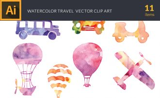Free Watercolor Travel Vector Set Freebies plane