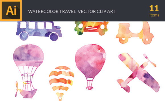 Free Watercolor Travel Vector Set watercolor silhouette travel small