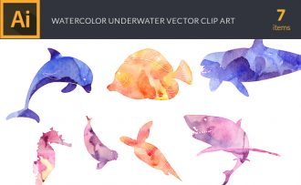 Watercolor Underwater Vector Set Vector packs [tag]