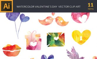 Watercolor Valentines Vector Set Vector packs [tag]