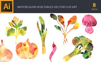 Watercolor Vegetables Vector Set Vector packs [tag]