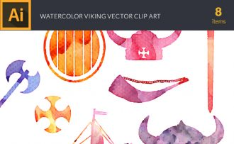 Watercolor Vikings Vector Set Vector packs [tag]