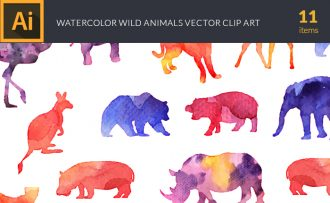 Watercolor Wild  Animals Vector Set Vector packs [tag]