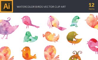 Watercolor Wild  Birds Vector Set Vector packs [tag]