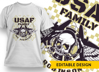 USAF Family (with name placeholder) T-shirt Designs and Templates skull