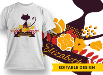 Cat with floral decorations and name placeholder T-shirt Designs and Templates flower