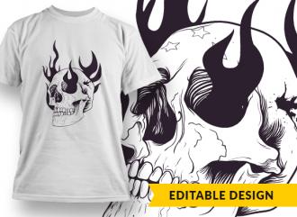 Flaming skull T-shirt Designs and Templates skull