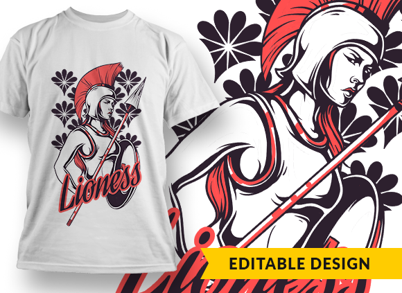 Lioness T-shirt Designs and Templates shield