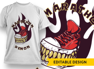 Marathon demon T-shirt Designs and Templates shoe
