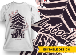 My body is a temple of gluttony T-shirt designs and templates funny