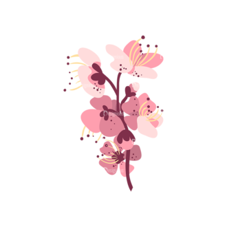 Cherry Blossom Flowers 01 Clip Art - SVG & PNG vector