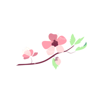 Cherry Blossom Flowers 06 Clip Art - SVG & PNG vector