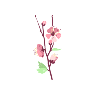 Cherry Blossom Flowers 08 Clip Art - SVG & PNG vector