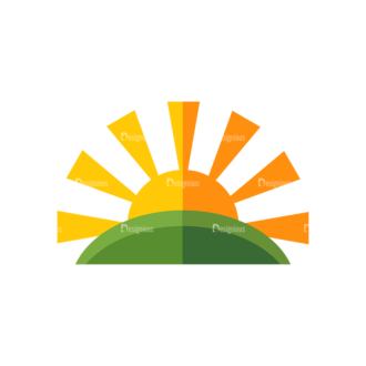 Farming Sun And Field Clip Art - SVG & PNG vector