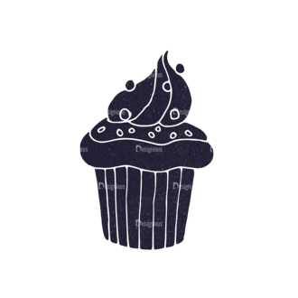 Bakery Vintage Vector Set 3 Vector Small Cupcake 01 Clip Art - SVG & PNG vector
