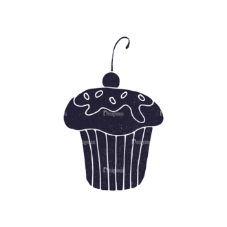 Bakery Vintage Vector Set 3 Vector Small Cupcake 02 Clip Art - SVG & PNG vector