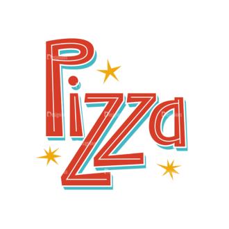Colorful Menu Typography Set 2 Vector Pizza Clip Art - SVG & PNG vector