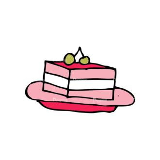 Designtnt Tea Party Vector Set 1 Vector Cake 11 Clip Art - SVG & PNG vector
