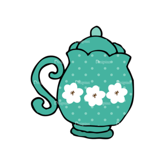 Designtnt Tea Party Vector Set 1 Vector Kettle 04 Clip Art - SVG & PNG vector