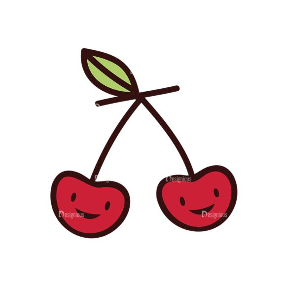 Doodle Fruits Vector Set 1 Vector Cherry 1