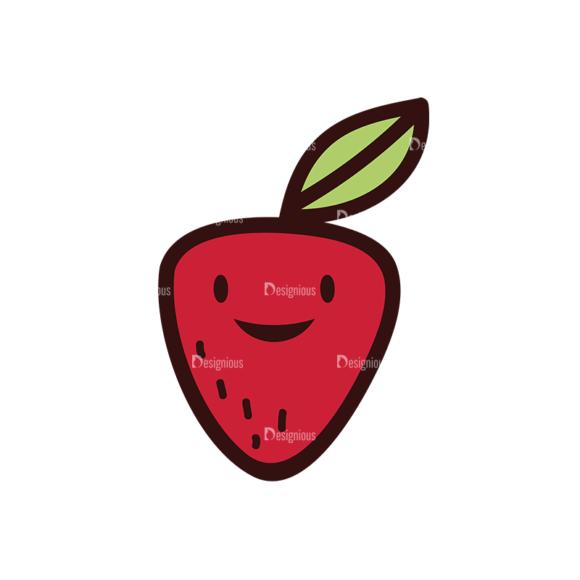 Doodle Fruits Vector Set 1 Vector Strawberry 1