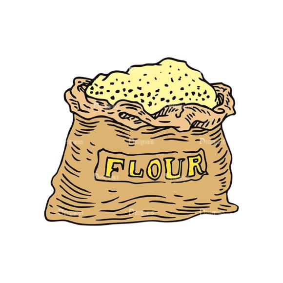 Engraved Bakery Vector Set 1 Vector Flour 1