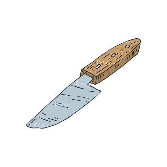 Engraved Kitchen And Cooking Vector Set 1 Vector Knife 5