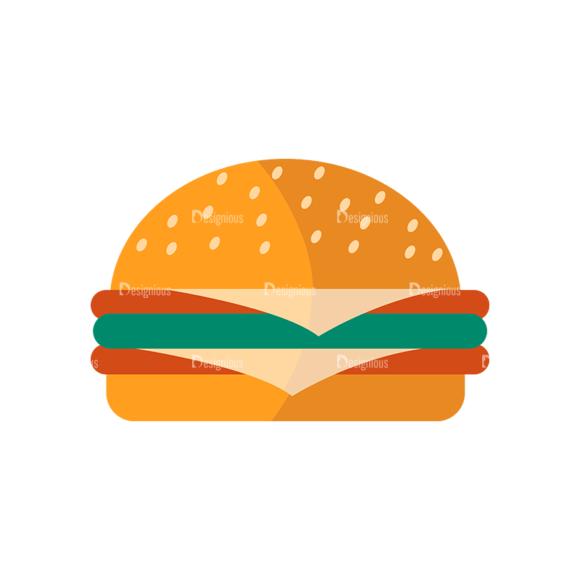 Flat Food Icons Set 5 Vector Burger Food drinks flat food icons set 5 vector burger