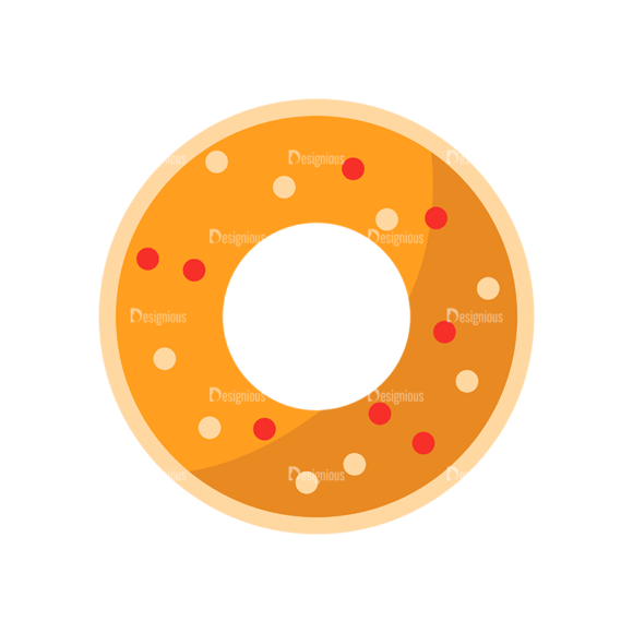 Flat Food Icons Set 5 Vector Donut 1