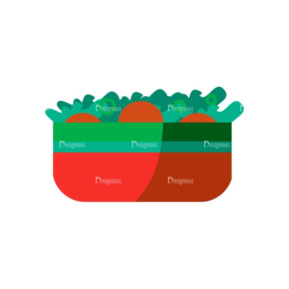Flat Food Icons Set 5 Vector Salad 1