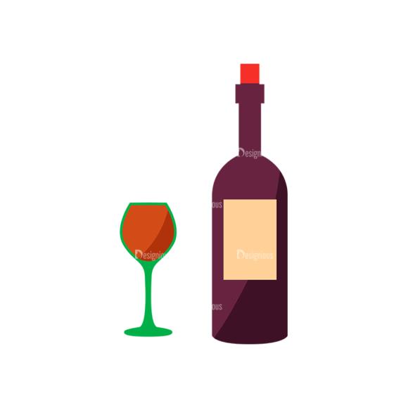 Flat Food Icons Set 5 Vector Wine 5