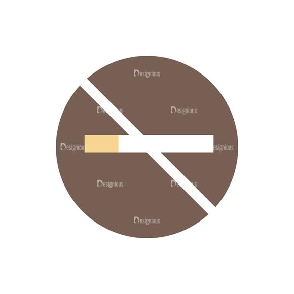 Flat Restaurant Icons Set 2 Vector No Smoking 1