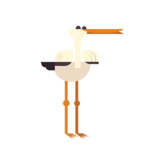 Geometric Birds Stork Clip Art - SVG & PNG vector