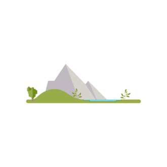 Landscape Builder Mountain Scenery With Lake Clip Art - SVG & PNG vector