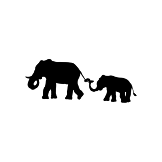 Animal Silhouettes 22 Vector Large Elephant 03 Clip Art - SVG & PNG vector