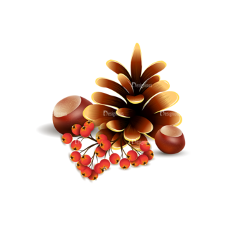 Autumn Elements Vector Pinecone 18 Clip Art - SVG & PNG vector