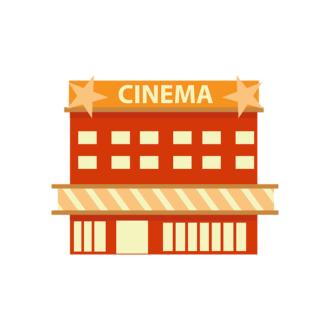 Buildings Vector Set 2 Vector Cinema Clip Art - SVG & PNG vector