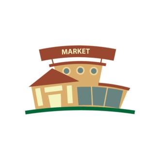 Buildings Vector Set 2 Vector Market Clip Art - SVG & PNG vector
