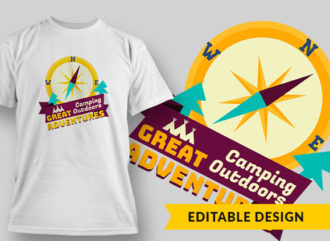 Camping Outdoors Great Adv T-shirt Designs and Templates vector