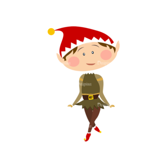 Christmas Kids And Animals Vector Elf 03 Clip Art - SVG & PNG vector