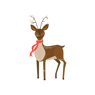 Christmas Kids And Animals Vector Reindeer 05 Clip Art - SVG & PNG vector