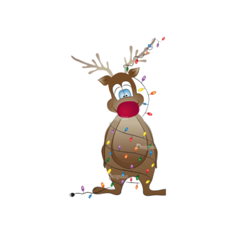 Christmas Kids And Animals Vector Reindeer 14 Clip Art - SVG & PNG vector