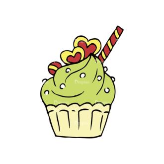 Engraved Decorative Valentines Vector Set 1 Vector Cupcake Clip Art - SVG & PNG vector