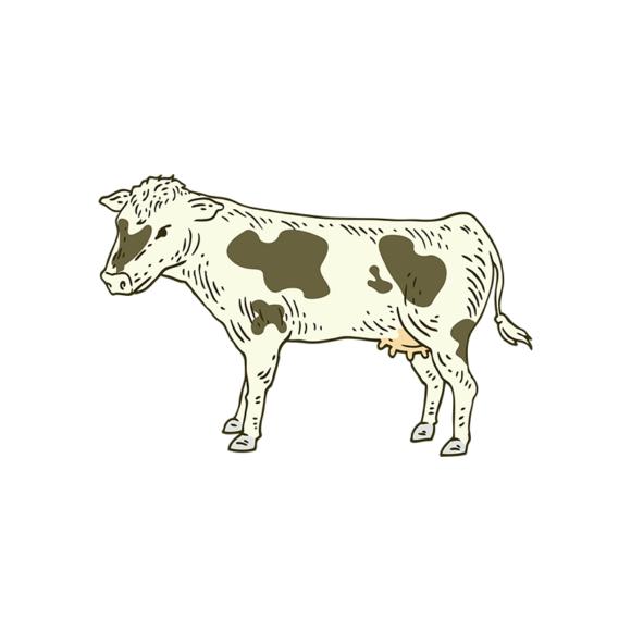 Engraved Domestic Animals Vector 1 Vector Cow engraved domestic animals vector set 1 vector cow