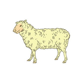 Engraved Domestic Animals Vector 1 Vector Sheep Clip Art - SVG & PNG vector