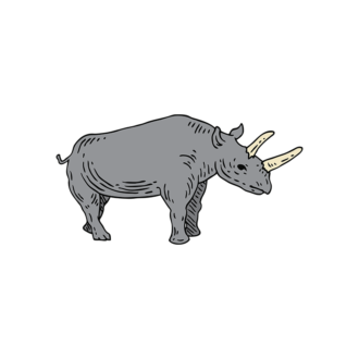 Engraved Wild Animals Vector 1 Vector Rhinoceros Clip Art - SVG & PNG vector