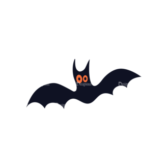 Flat Halloween Characters Set 1 Vector Bat Clip Art - SVG & PNG vector