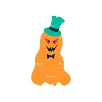Flat Halloween Scrapbooking Set 1 Vector Ghost Clip Art - SVG & PNG vector